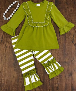 High quality Knit Cotton toddler girls fall winter ruffle outfits baby clothes wholesale children's boutique clothing
