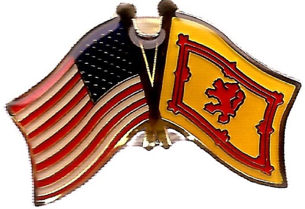 BOX of 12 Scotland Rampant Lion & US Crossed Flag Lapel Pins, Scotland Lion & American Double Friendship Pin Badge