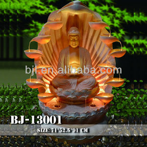 Cheap price resin craft led lighting buddha water features fountains india