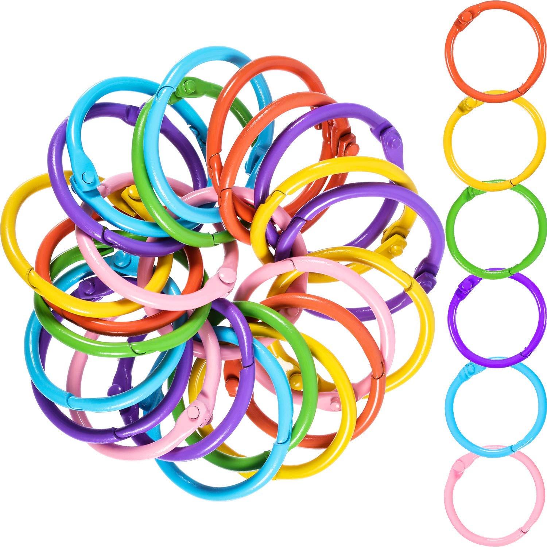 Boao Metal Loose-Leaf Rings, 1.2 Inch Paper Leaf Binder Rings, Notebook Rings Keychains Keyrings, 60 Counts, Assorted Color