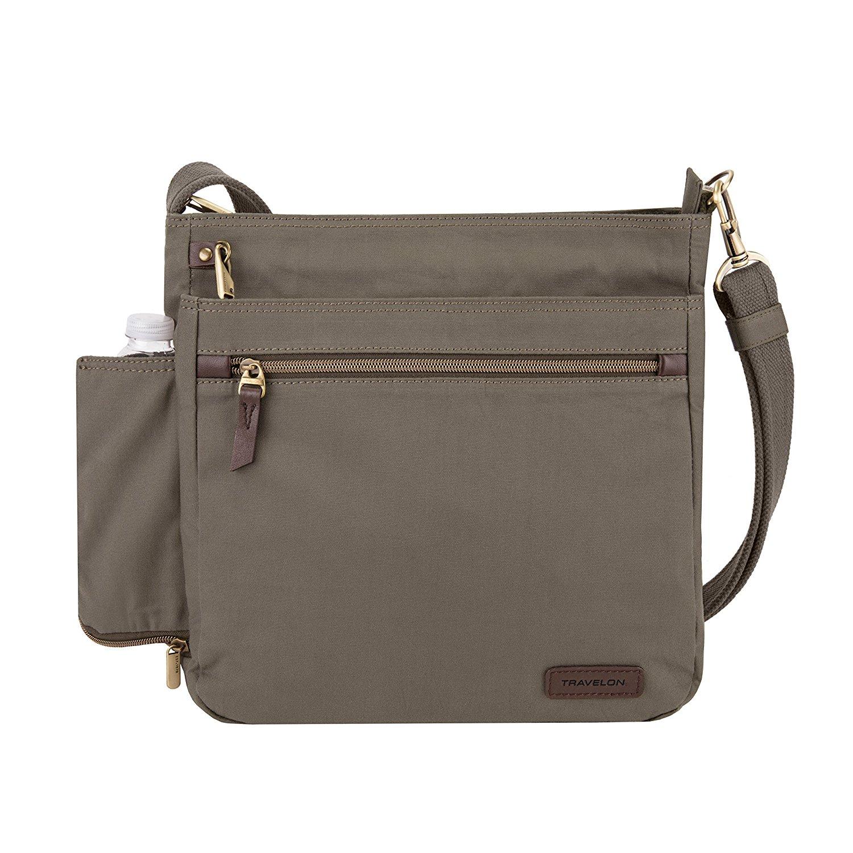 Travelon Women's Anti-Theft Courier N/s Crossbody Cross Body Bag, Stone Gray, One Size
