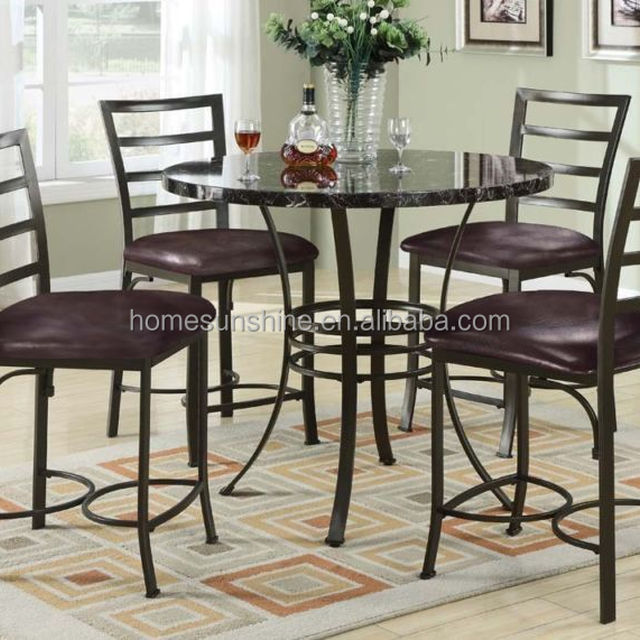 5pc Daisy Dining Set Counter Height Table High Chairs Black Faux Marble Top & Buy Cheap China dining table set black Products Find China dining ...