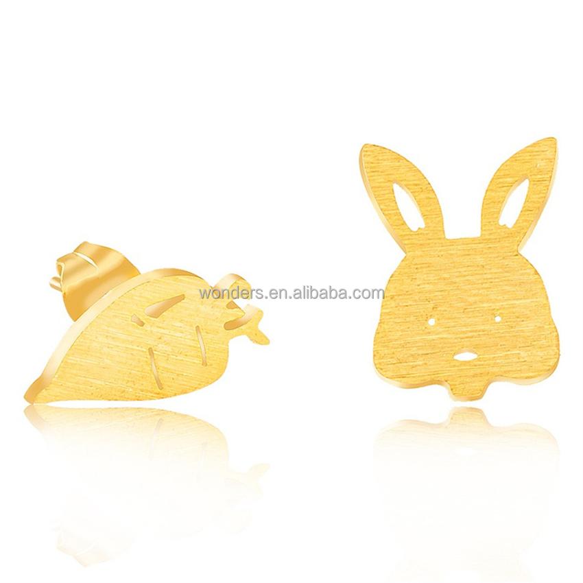 Conejo Con Zanahoria Diseño Pendientes de Plata Plateado en Caja De Regalo