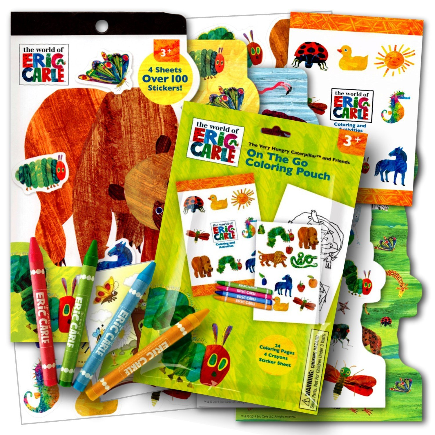 World of Eric Carle Coloring Activity Set with Crayons, Stickers, Coloring Book, 4 Sheet Shaped Sticker Pad - The Very Hungry Caterpillar, Very Busy Spider, Brown Bear, and more! Plus 1 Fun Sticker