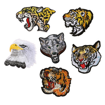 Animal pattern iron cheap tiger embroidered patches for clothes