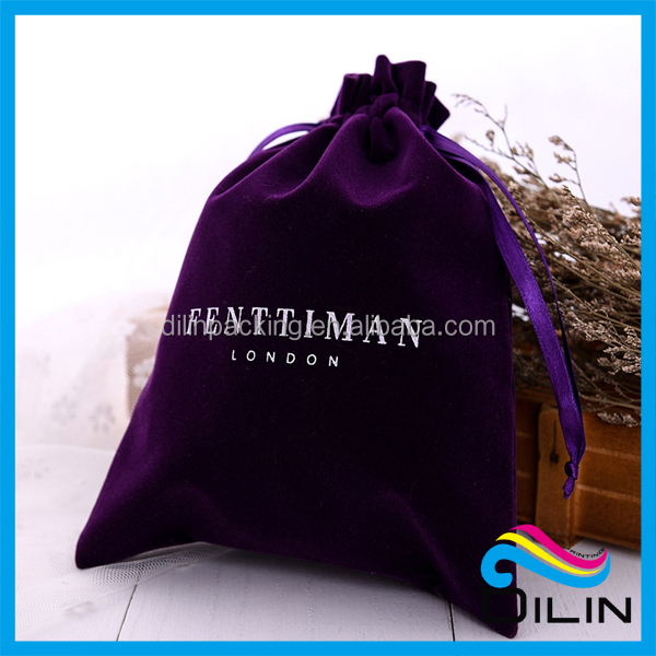 Hot sale custom design printed wholsesale violet velvet jewelry pouch with logo