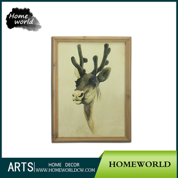Antique Impressionist Sika Deer Chinese Ink Painting With Frame