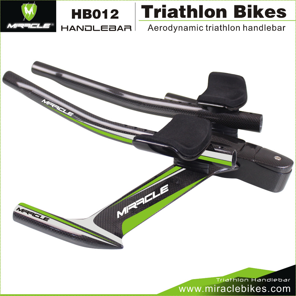 2016 New MIRACLE Design Green Color Aero Time Trial/Triathlon//TT Bike Carbon Fiber Handlebar 420mm Stem 90mm 3K Glossy