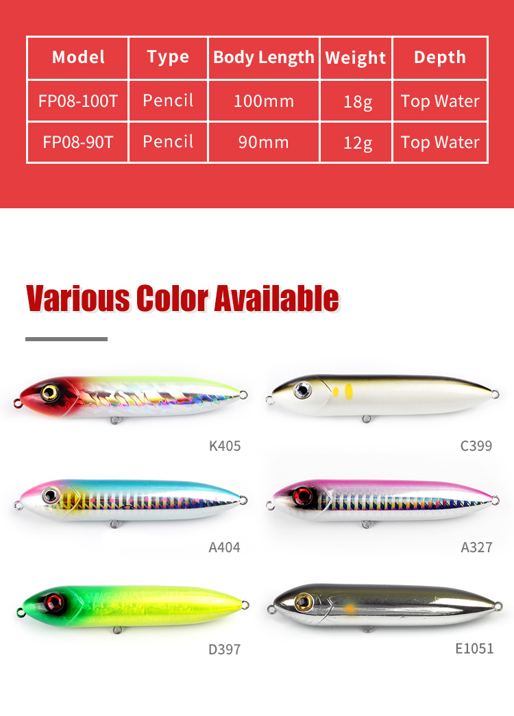 In stock topwater fishing lure tackle  with VMC hooks