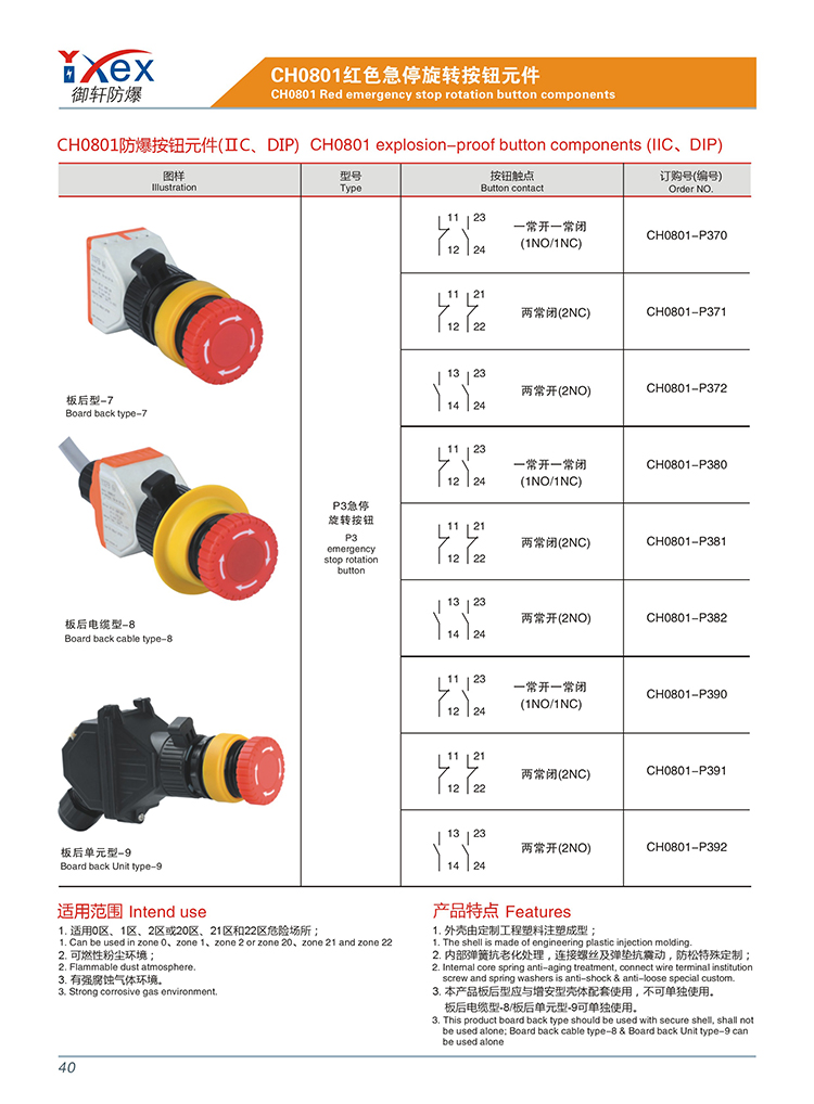 Machinery industrial electrics explosion-proof switch for appliances with push button