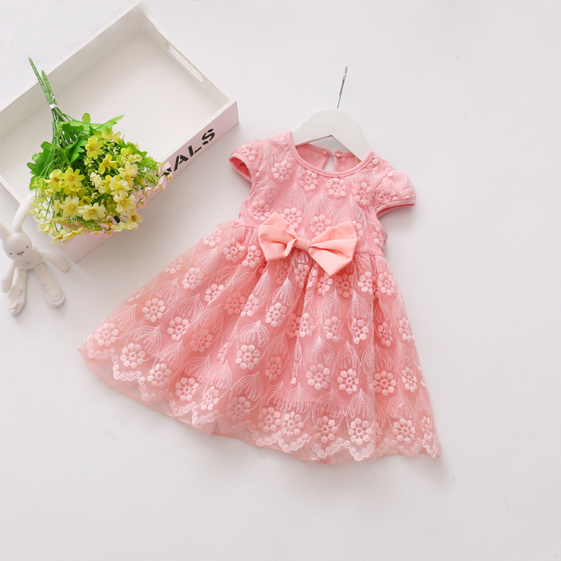 summer cute bow lace baby short dress mini children lace dress