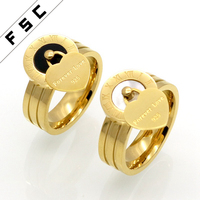 Custom ceramic ring gold plated roman numerals stainless steel best friends forever love ring
