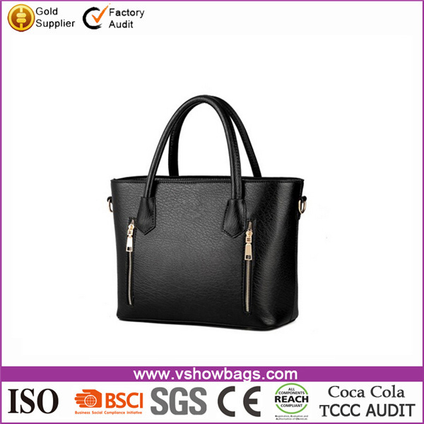 Charming Stylish Double Top-Handle Zipper PU Leather Handbags