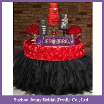 TC121A Red Black Christmas Party Table Tutu Skirts