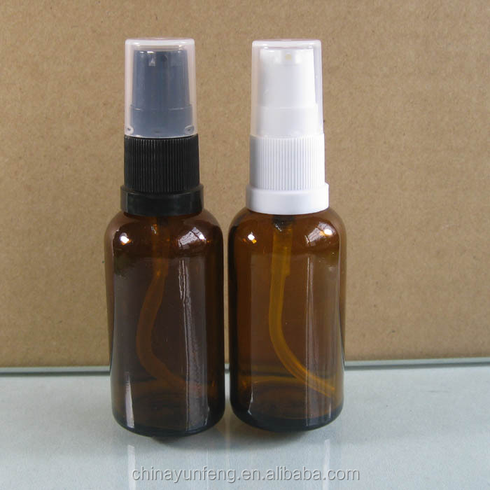 Hotel 30ml amber cosmetic glass syrup pump bottle with lotion pump