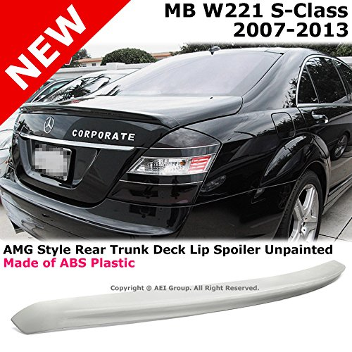 Mercedes Benz W221 S-Class 07-13 AMG Style Rear Trunk Lid Lip Unpainted Stick On Spoiler