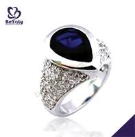 Deep blue enamel silver stone pave set diamond ring mountings