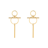 E-662 xuping stainless steel simple korean style 24k gold plated women dangling earring