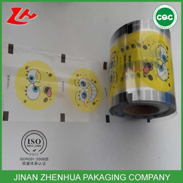 Plastic Yogurt Cup Lid sealing film custom printed clear pp sealing film for cup