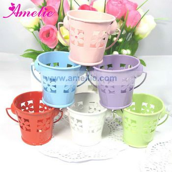 A9434e Wedding Favor Tin Blue Metal Pail Colored Bucket