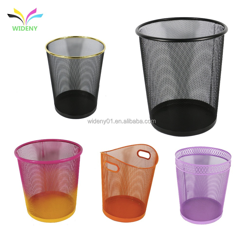 WIDENY black office home household wire metal mesh paper waste trash bin for trash container can