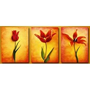 Ode-Rin Art Christmas Gift Christmas Hand Painted Oil Paintings Gift Gradually Blossom 3 Panels Wood Inside Framed Hanging Wall Decoration