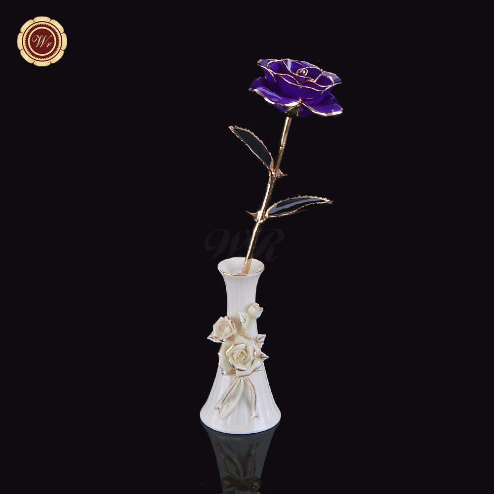 Aliexpress Com Buy Wr Romantic Rose 24k Gold Dipped: Wr Wedding Favor Real Rose 24k Gold Dipped Rose Purple