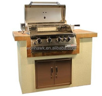 Luxury outdoor stainless steel built in gas bbq grill with Pizza Oven, Drawer, Sink