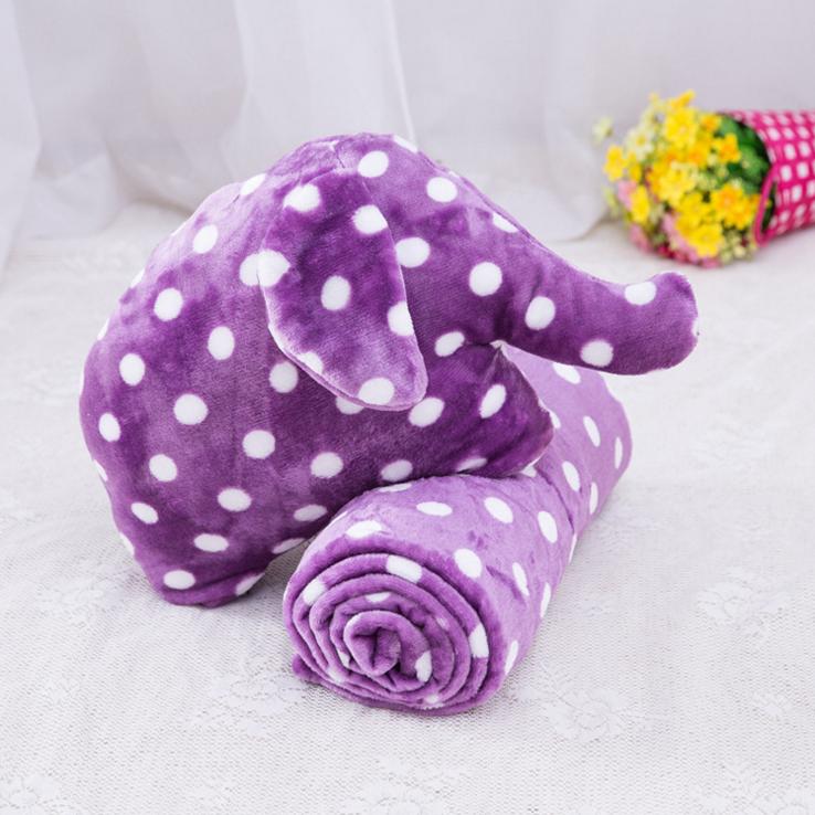 Elephant wholesale soft plush purple pillow blanket