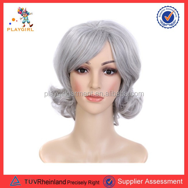 Newest arrived fashion gray short kinky curly hair party wigs PGWG1355