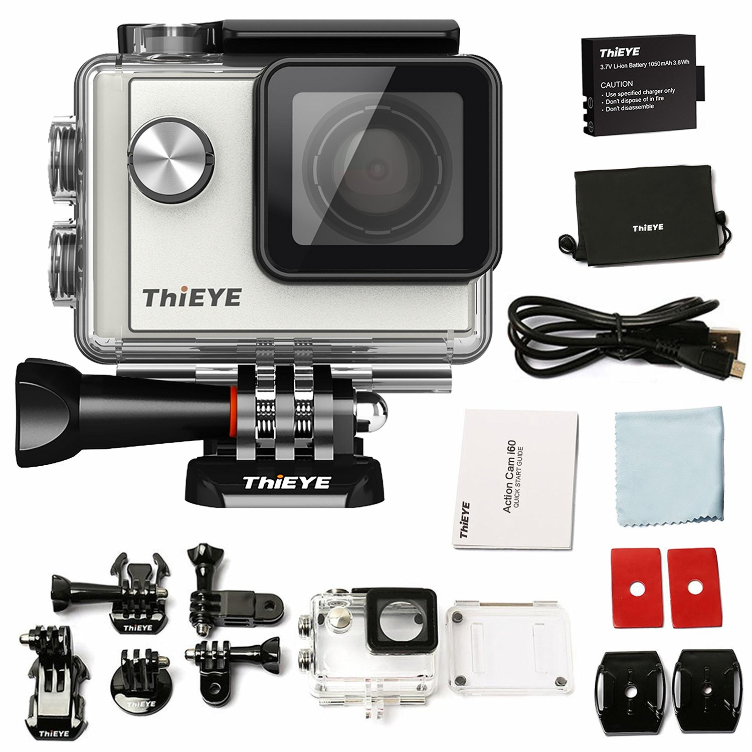 """ThiEYE i60 WIFI 4K Sports Action Camera Video Camcorder 12MP 1080P Full HD 130FT (40M) Waterproof 155 Degree Wide Angle Lens 1.5"""" LCD Screen 4X Optical Zoom For Outdoors, Including Accessories"""