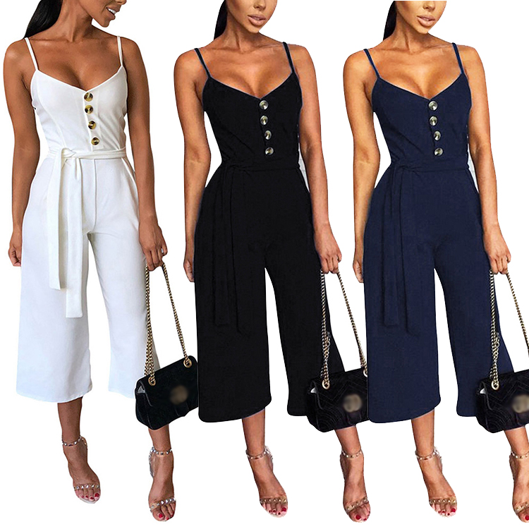 Feelingirl New Fashionblack Front Button Frauen Hosenträger Jumpsuits