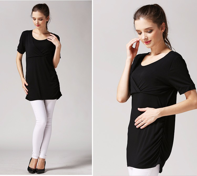 Thin Short Sleeve Maternity Clothes Solid Breastfeeding Clothes Loose Hem Nursing T-shirts