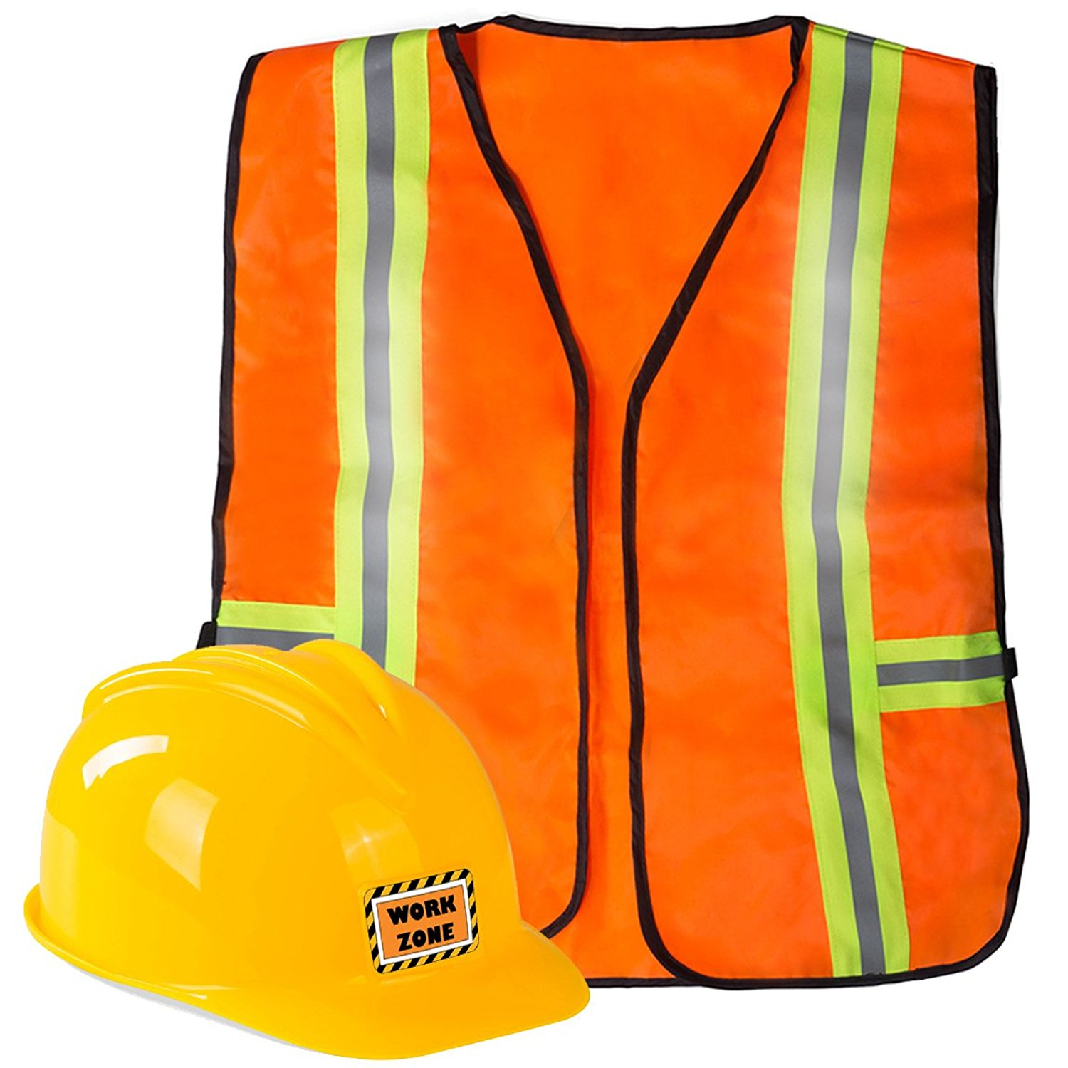 Funny Party Hats Construction Worker Costume for Kids - Construction Costume - Construction Hat and Costume Vest
