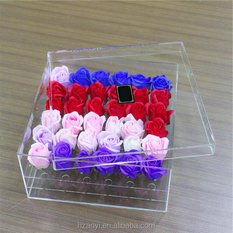 China Suppliers Wholesale Rose Waterproof Square Clear Acrylic Flower Box