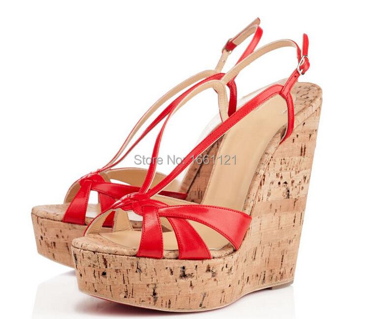 On Sale Ladies Wedge Sandals Cork Wedges Red White Ankle ...