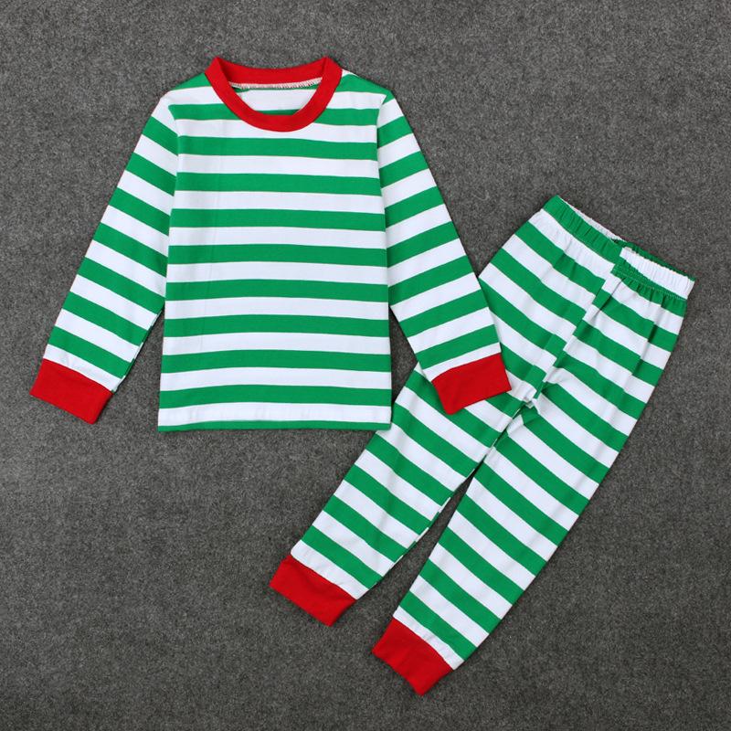 a562113fada4d 2017 عيد الميلاد الاطفال بيجامة مجموعات مخطط القطن عيد الميلاد منامة 2-7  سنوات طفل