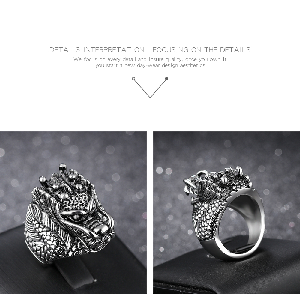 Custom Punk Jewelry Men Stainless Steel Casting Ring Dragon