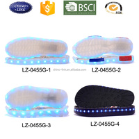 2016 Hot sale durable glowing TPR transparent outsole for men women kid casual shoes led shoe sole with led RGB charging light