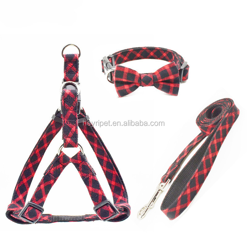 Wholesale quality England style elegant striped cotton fabric pet chest strap dog leads collar