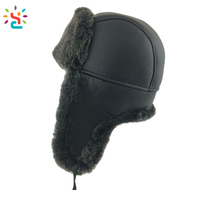 Wholesale artificial leather bomber hat Sheepskin Leather Aviator Russian Ushanka Trapper Winter Fur Hat