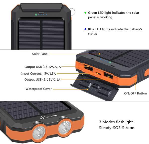 gift items 15000 mah portable solar charger rohs manual for cell phone solar power bank