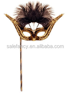 Latest new design fasion party eye mask wholesale masquerade masks with stick QMAK-1074