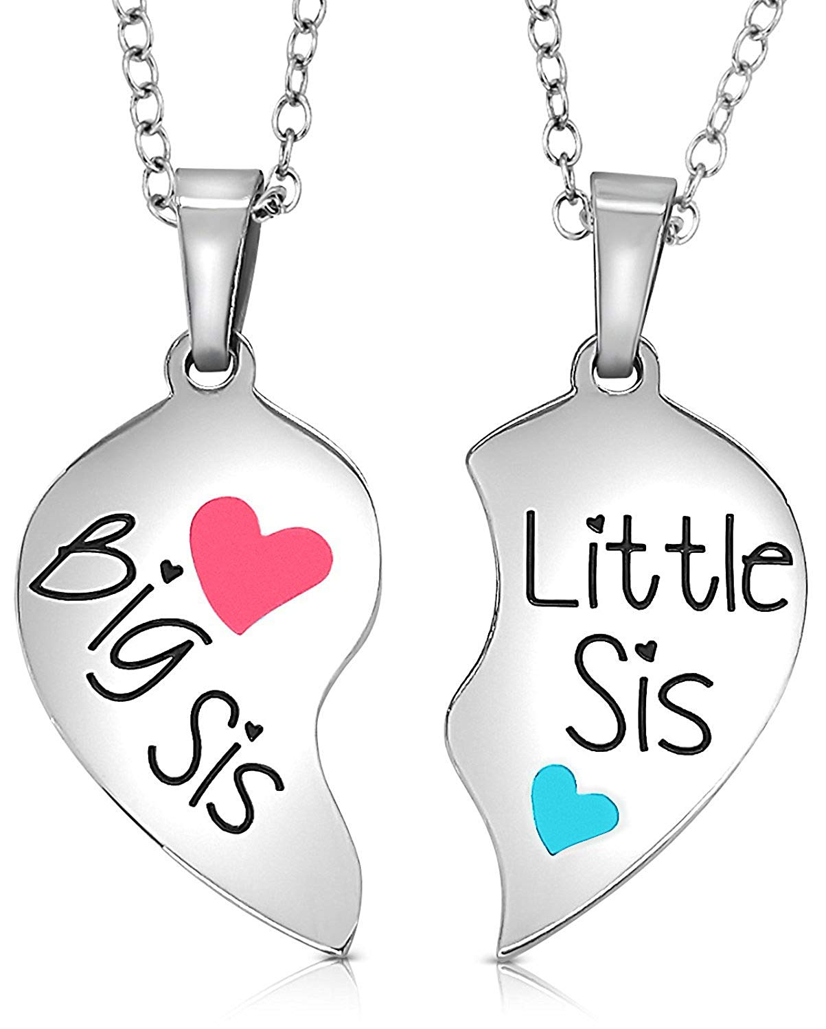 2cfa836691 Get Quotations · Set of 2 Piece Heart Halves Matching Big Sis Little Lil Sis  Sisters Necklace Jewelry Gift