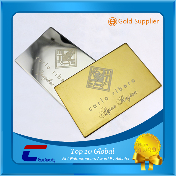 Gold brass card credit visa size plating rose gold cards mirror polish metal business cards