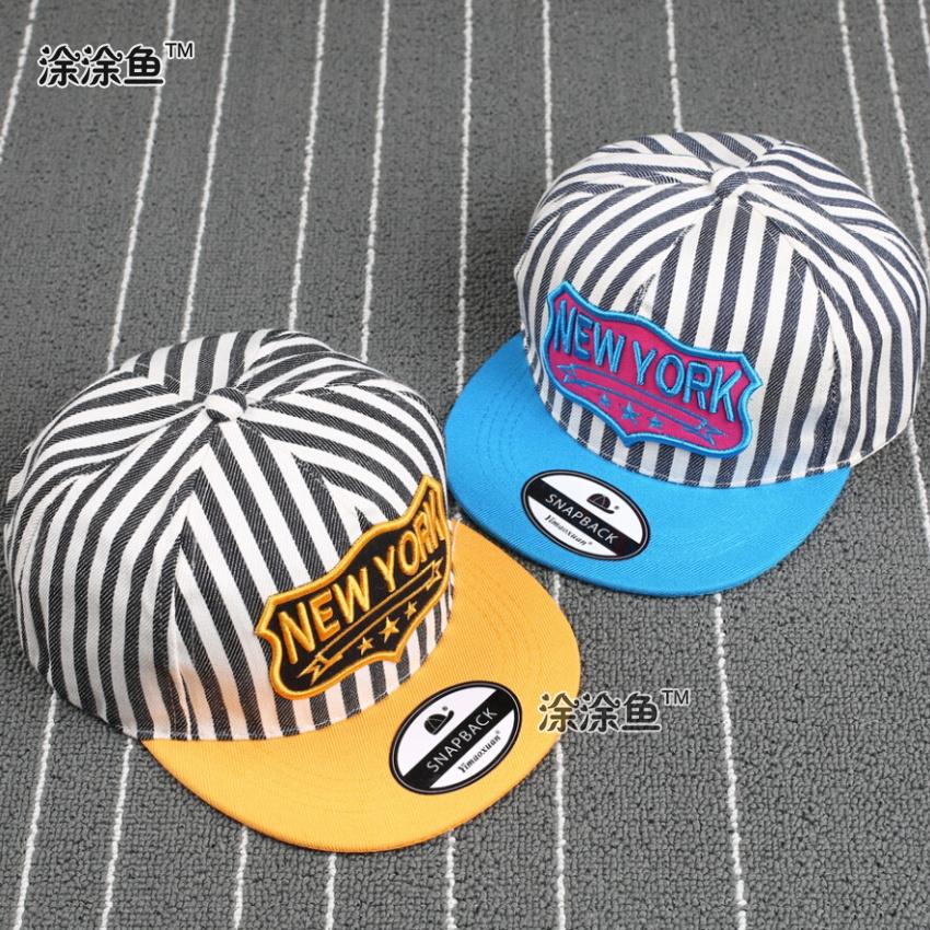 015 New York Kids Cotton Caps Striped Boys Baseball Caps Summer Hats Children Caps Girls Baseball