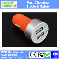 5V 2.1A Matte Aluminium Alloy Round Dual USB Car Charger Adapter For iPad 2 3 4 Pro For iPhone 6s Plus 6s 6 5 5S 5C 4