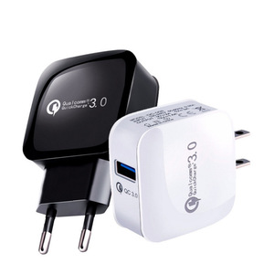 Wholesale OEM Quick Charge QC 3.0 Travel Wall Charger, Universal EU US UK Plug USB Adaptive Fast Charger for Mobile Phone