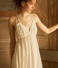 Летняя винтажная вискозная Пижама, элегантная женская принцесса белая хлопковая ночная рубашка без рукавов, сексуальное нижнее белье(Китай)