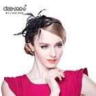 women elegant feather sinamay fascinator bridal headwear